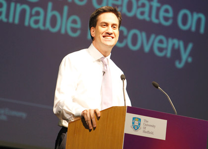 Ed Miliband speaking at the SPERI Inaugural Lecture